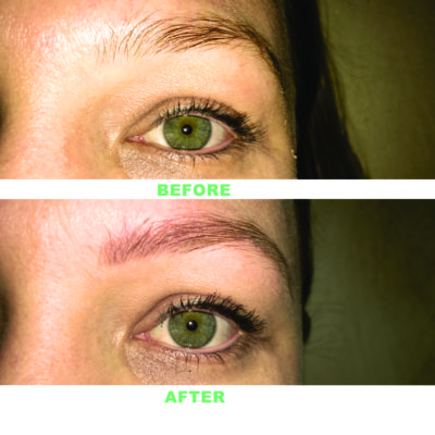 Eyebrows Before and After Permanent Makeup