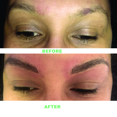Eyebrows Before and After Permanent Makeup Applied