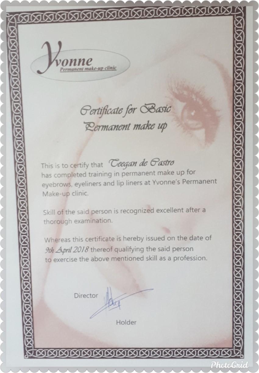 Teegan de Castro Certificate